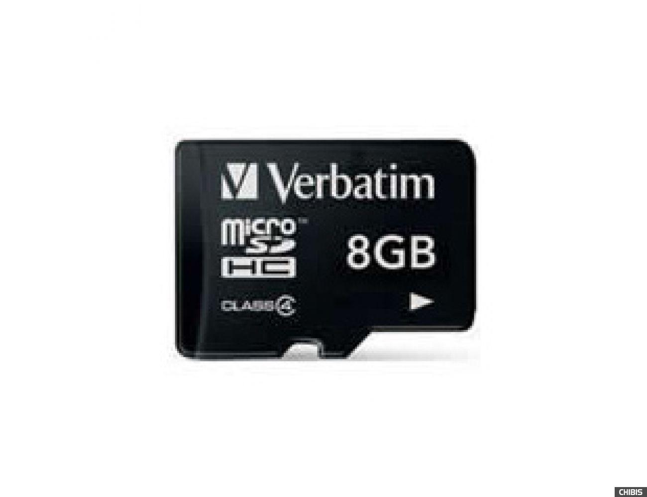 Карта памяти Verbatim MicroSDHC 8Gb (Class 4) (44004)