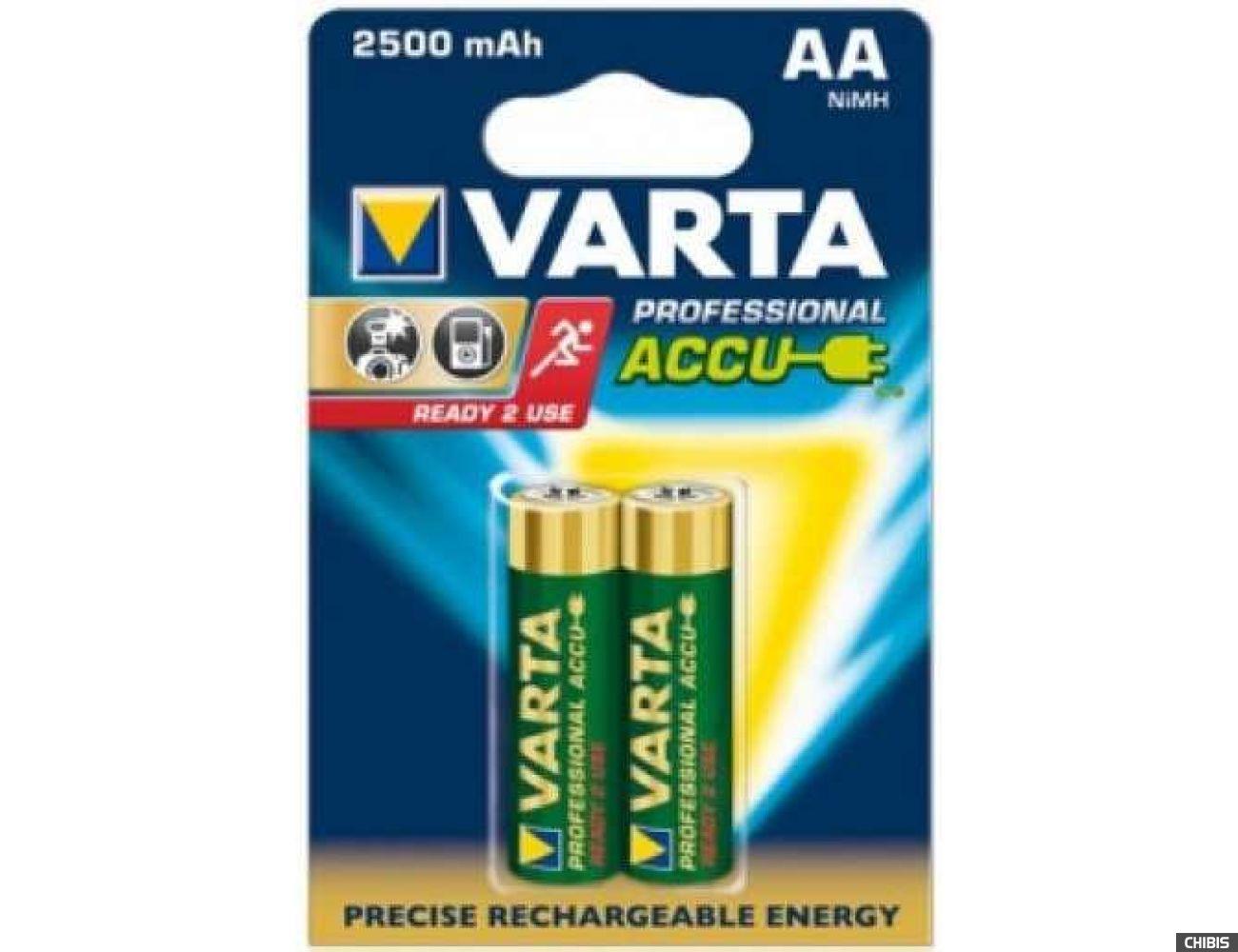 Аккумуляторные батарейки АА Varta 2500 mAh Professional (HR6 Ni-MH) 2/2 шт. 05716101402