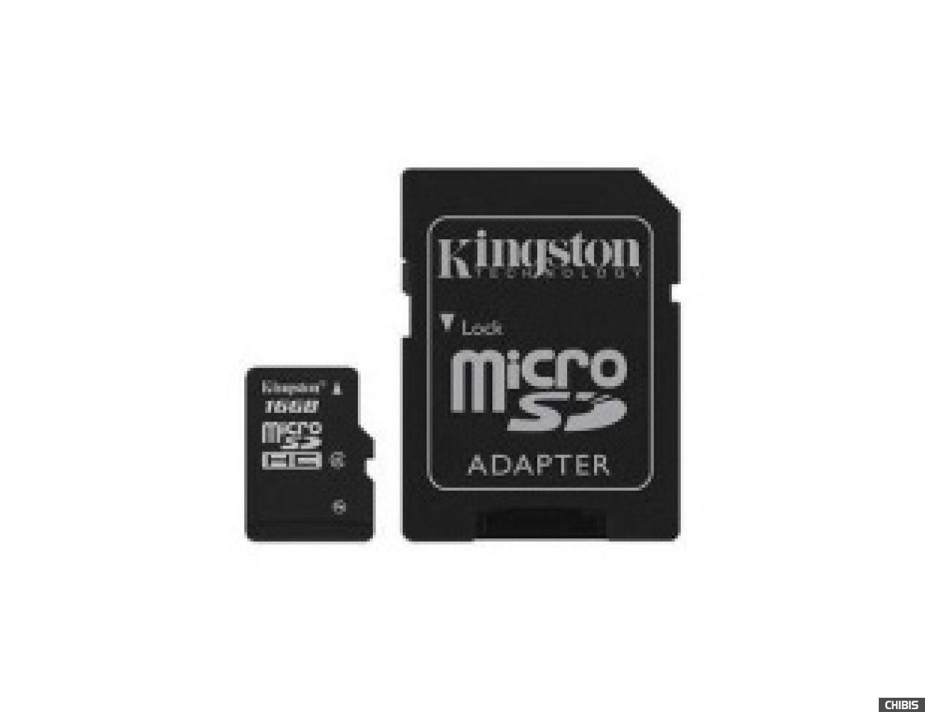 Карта памяти Kingston MicroSDHC 16Gb Class 4 + SD adapter