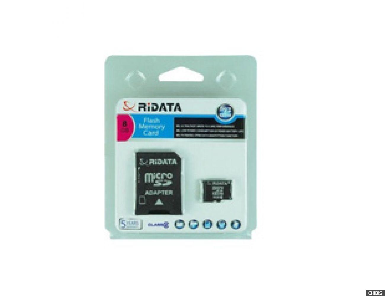 Карта памяти RIDATA MicroSDHC 8Gb (CLASS 2) SD adapter