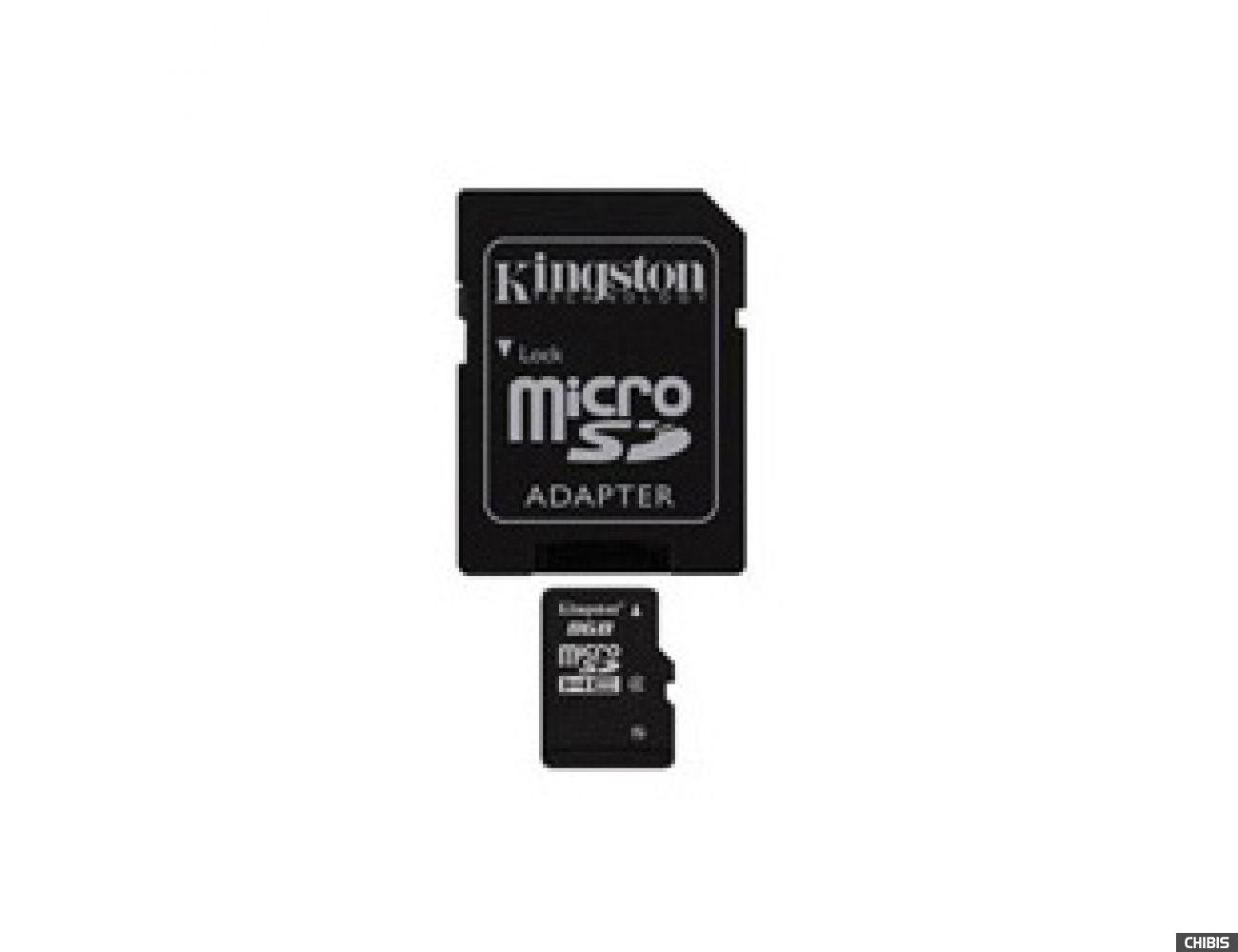 Карта памяти Kingston MicroSDHC 8 GB Class 4 + SD adapter