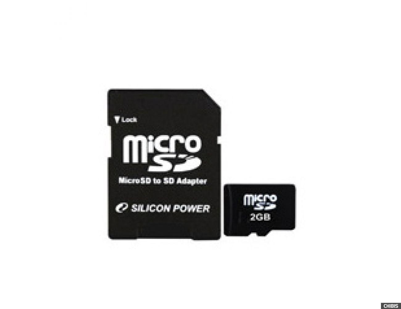 Карта памяти SILICON POWER MicroSD 2 GB card + adapter
