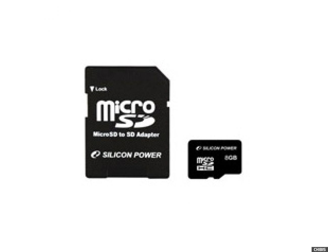 Карта памяти SILICON POWER MicroSDHC 8 GB card Class 4 + adapter