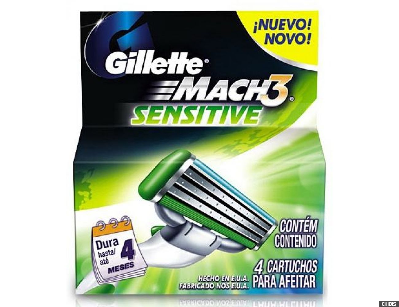 Gillette Mach3 Sensitive лезвия для станка 4 шт. 7702018037896