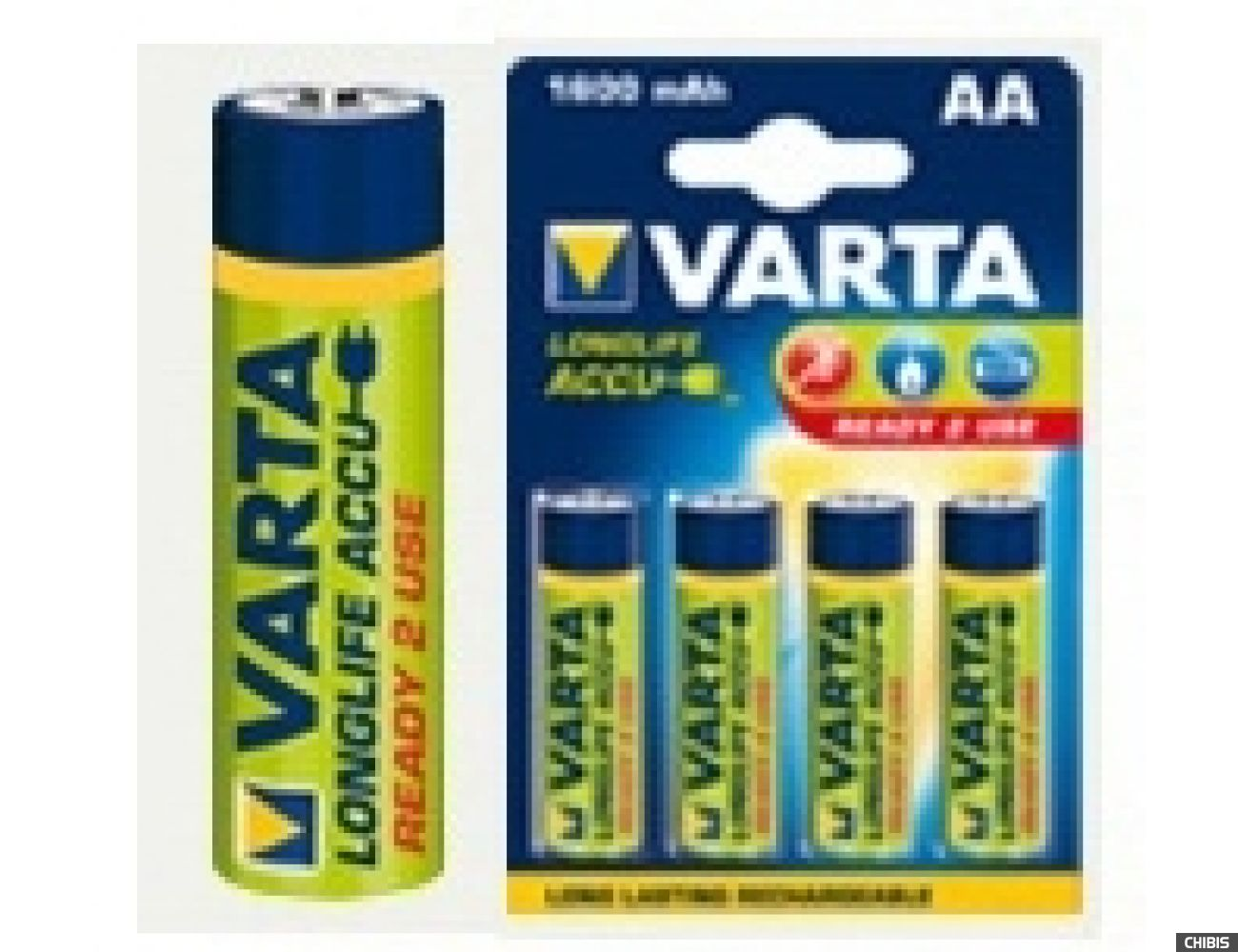 Аккумуляторные батарейки АА Varta 1600 mAh LongLife R2U (HR6 Ni-MH) 1/4 шт.