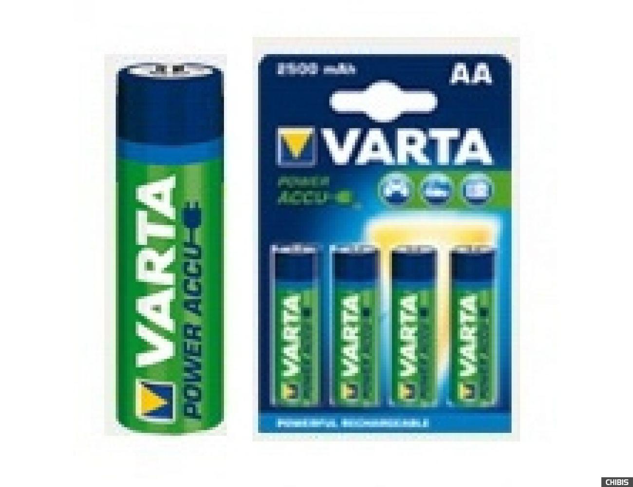 Аккумуляторные батарейки АА Varta 2500 mAh Power (HR6 Ni-MH) 1/4 шт.