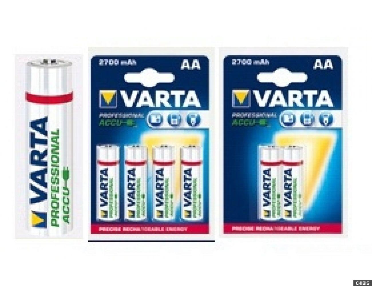 Аккумуляторные батарейки АА Varta 2700 mAh Professional (HR6 Ni-MH) 5706301404