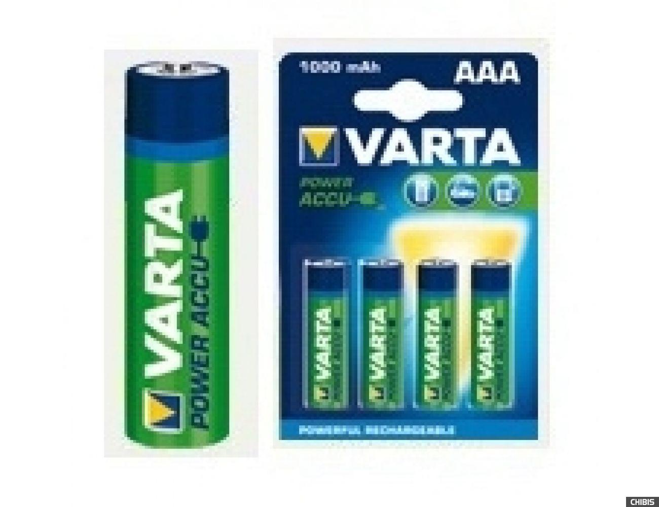 Аккумуляторные батарейки ААА Varta 1000 mAh Power 1/4 56763101404