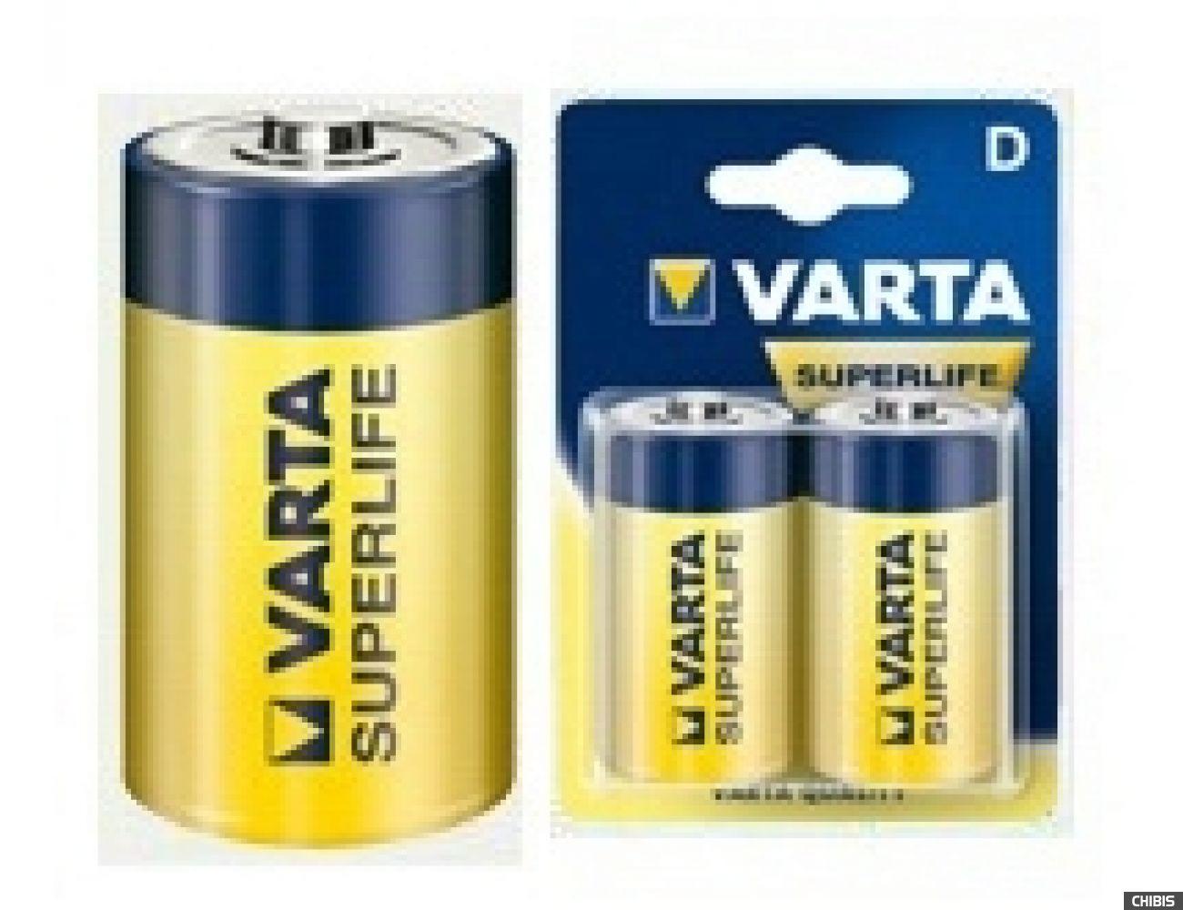 Батарейка Varta D Superlife (LR20, 1.5V, Цинково-угольная) 02020101412