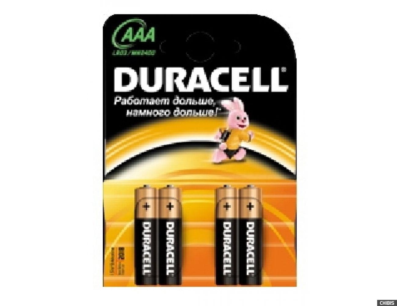 Батарейка ААА Duracell Basic (LR03, 1.5V, Alkaline  Щелочная) 4/4 шт.