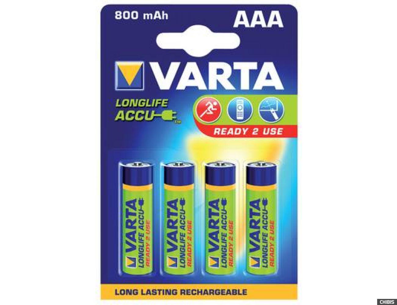 Аккумуляторные батарейки ААА Varta 800 mAh Longlife 4/4 шт. 56703101404