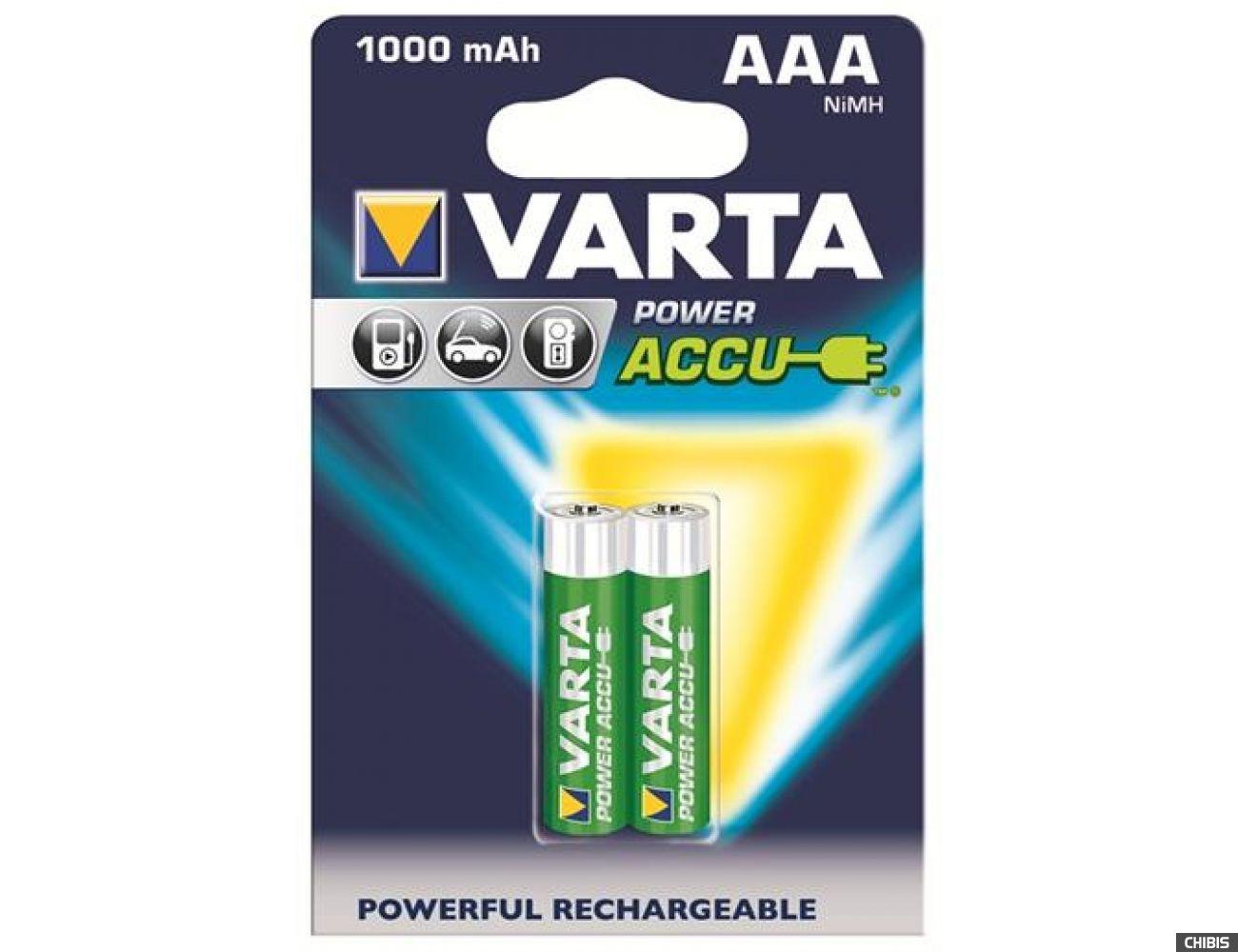 Аккумуляторные батарейки ААА Varta 1000 mAh Power 2/2 56763101402