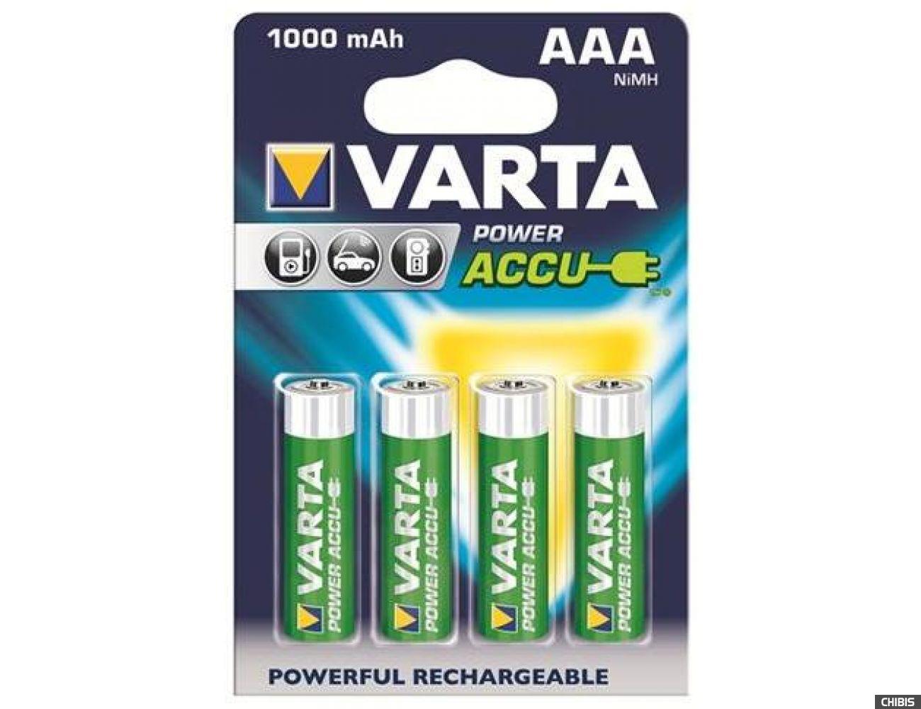 Аккумуляторные батарейки ААА Varta 1000 mAh Power 4/4 56763101404