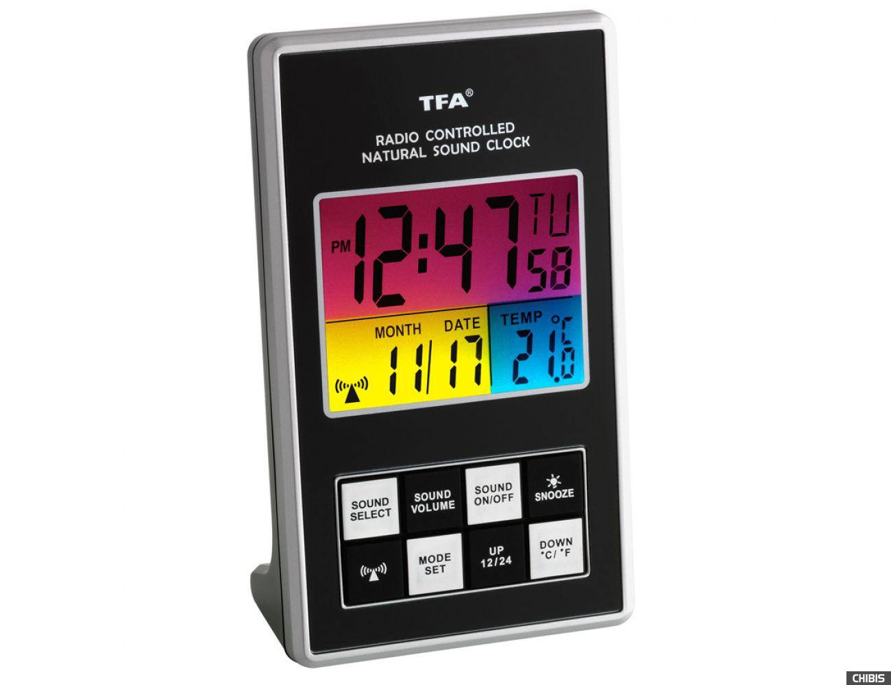 Настольные часы TFA (602507) с мелодиями, 127x75x39мм