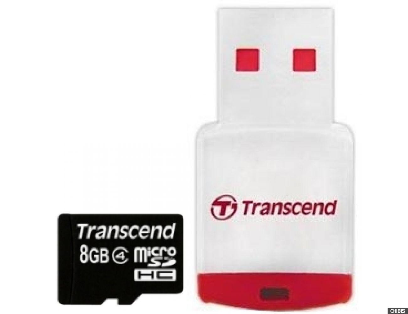 Карта памяти Transcend MicroSDHC 8GB (Class 4) + CardReader