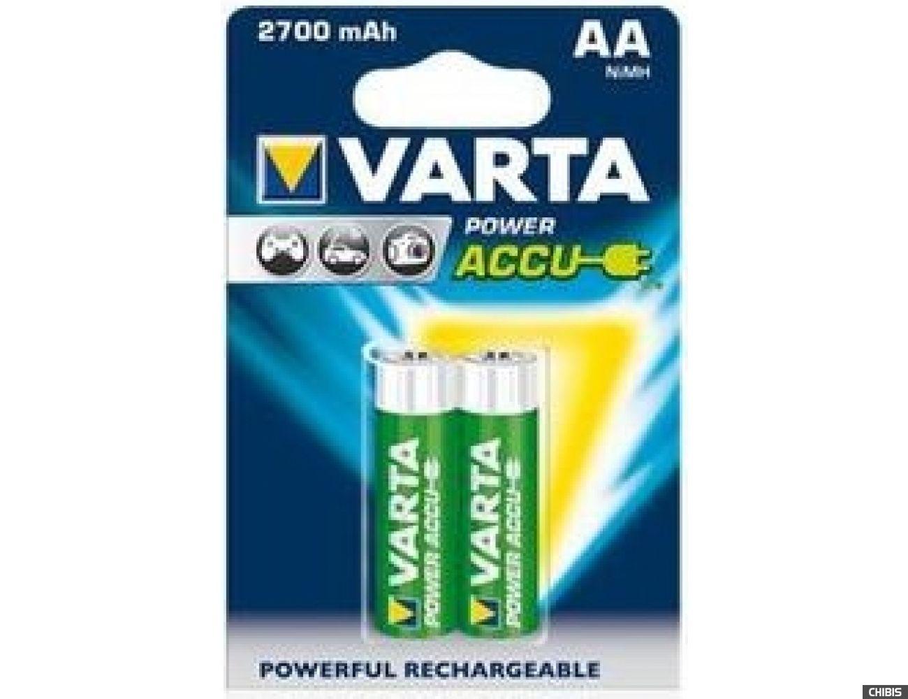 Аккумуляторные батарейки АА Varta 2700 mAh Power HR6 Ni-MH 2/2 шт. 56766101402