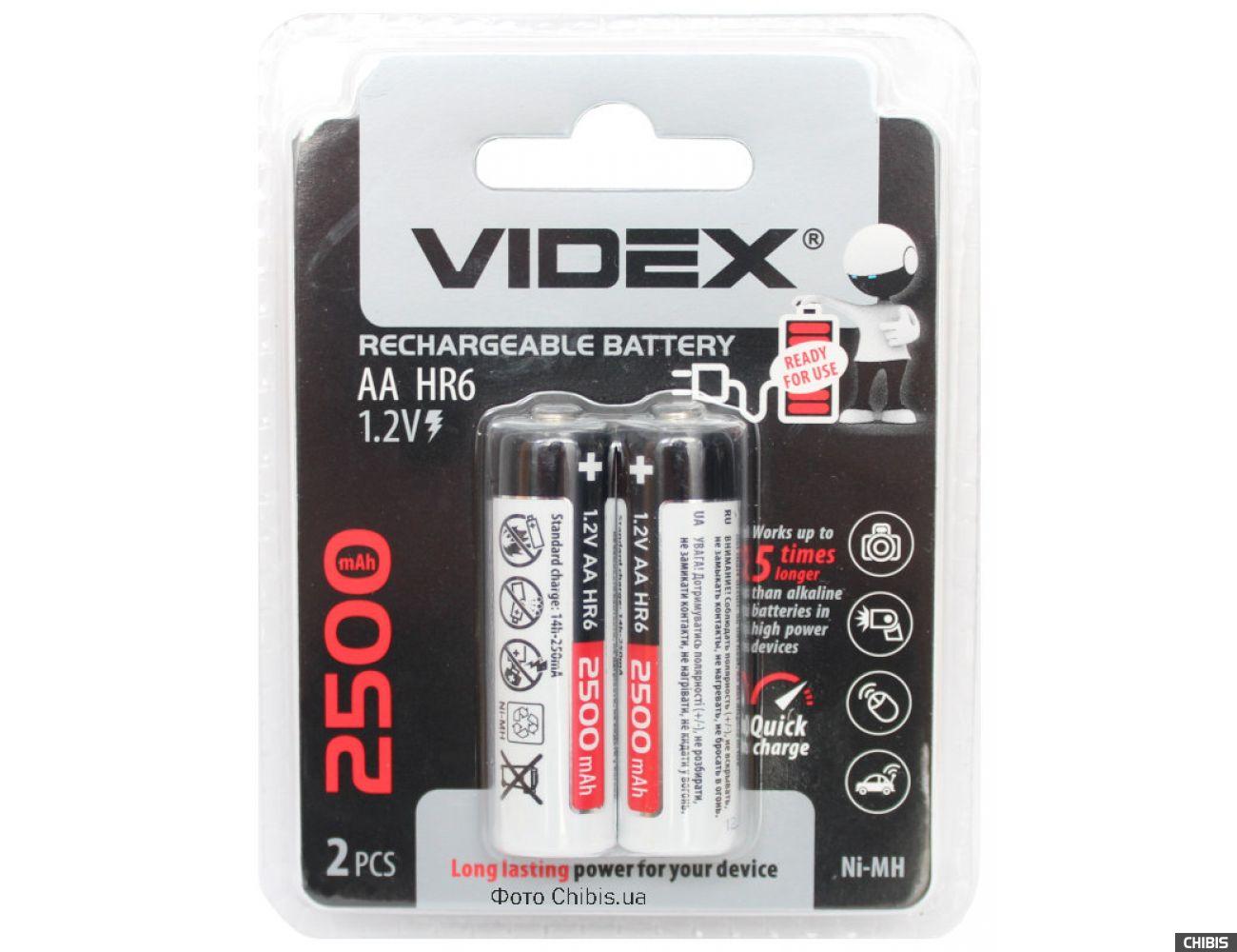 Аккумулятор HR6 Videx 2500 mAh Ni-Mh блистер 2 шт