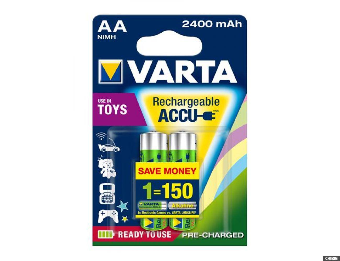 Аккумуляторные батарейки АА Varta 2400 mAh Ni-Mh Toys блистер 2/2
