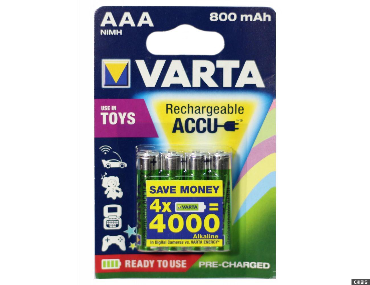 Аккумуляторы ААА Varta 800 mAh Toys Ni-Mh блистер 4 шт