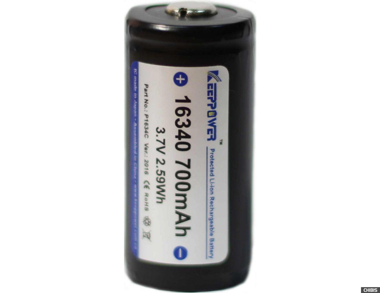 Акумуляторная батарейка CR123 KEEPPOWER 16340 3.7V 700mAh