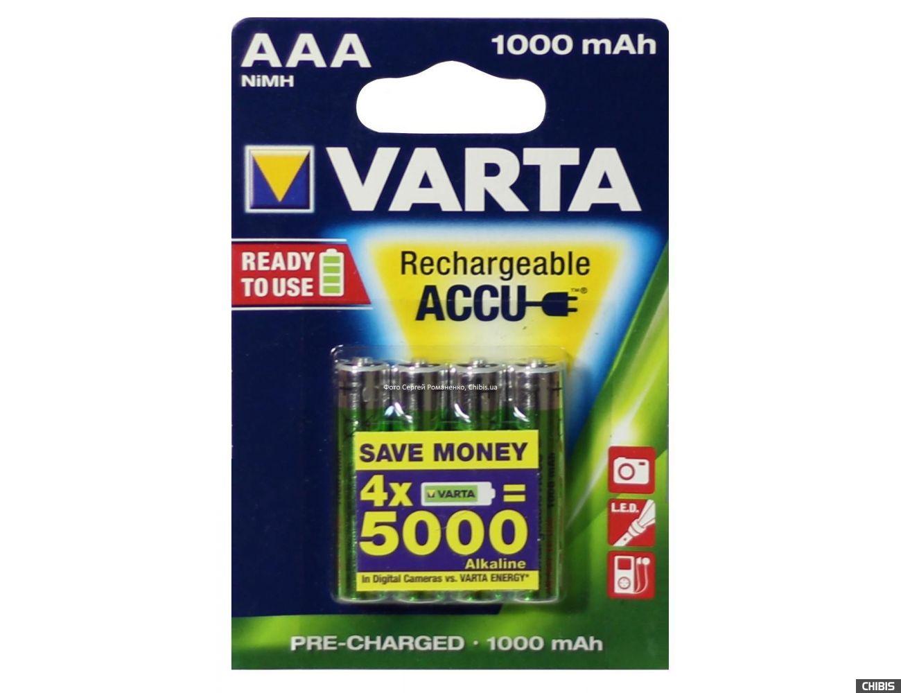 Аккумуляторные батарейки ААА Varta 1000 4 шт 5703