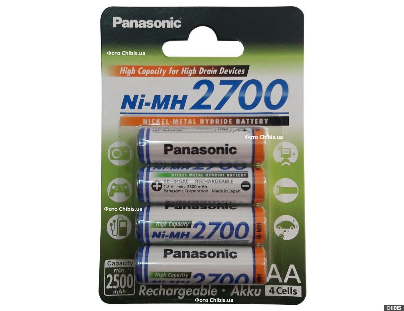 Аккумуляторы АА 2700 mAh Panasonic High Capacity 4 шт