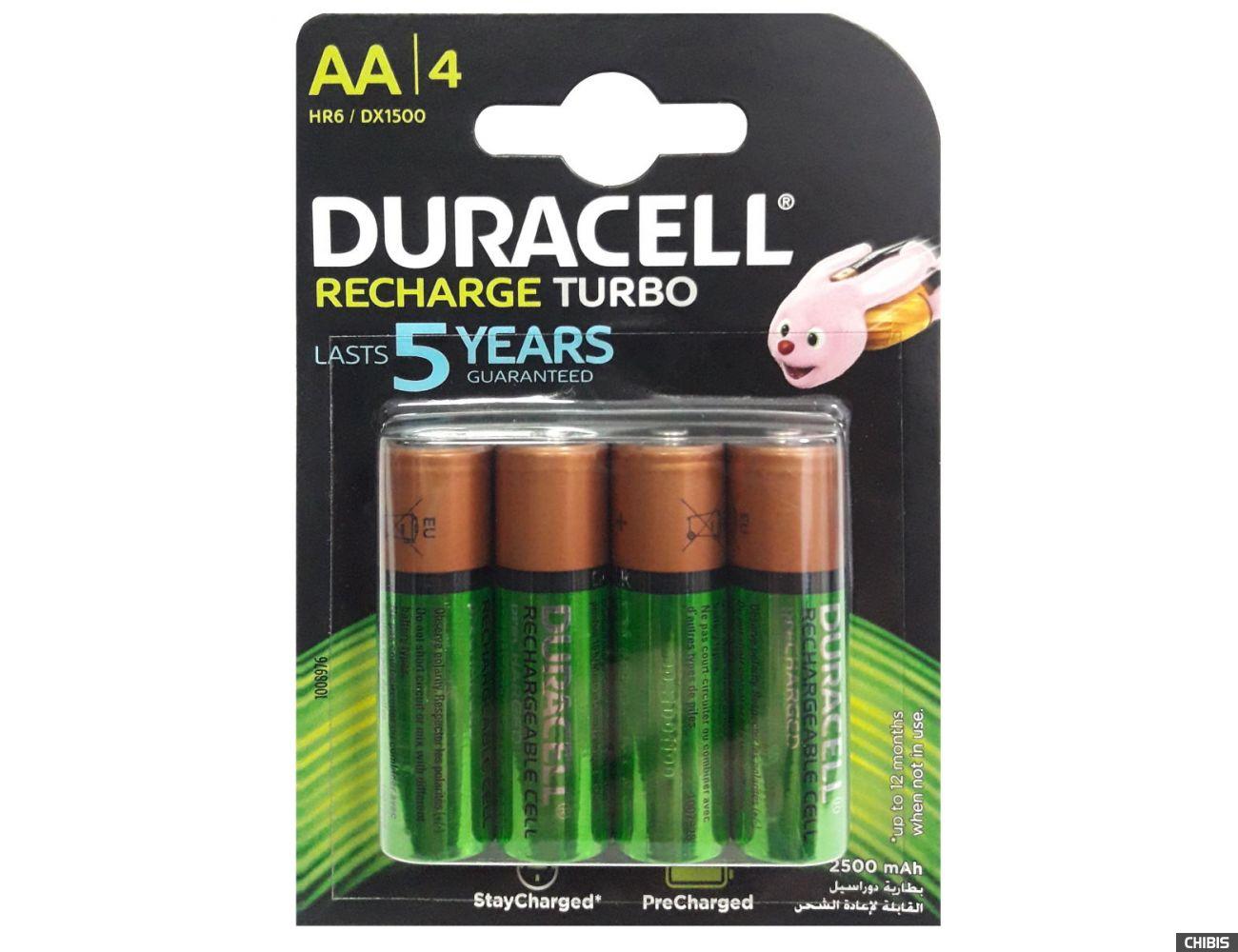 Аккумуляторы AA Duracell 2500 mAh Turbo HR6 Ni-Mh 1.2V 4 шт.