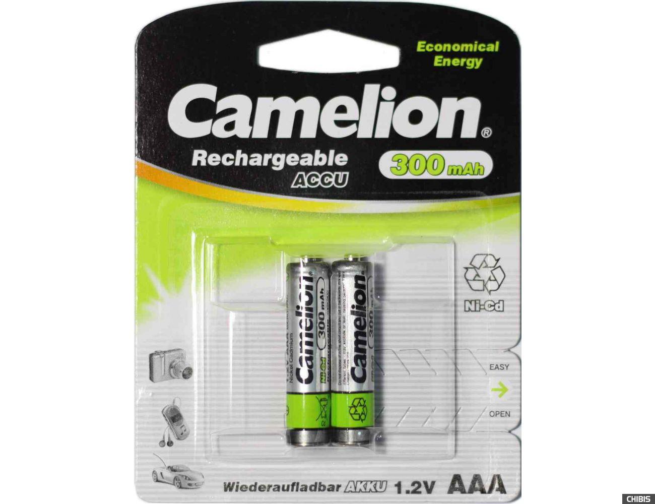 Аккумуляторные батарейки ААА Camelion 300 mAh Ni-Сd R03 блистер 2 шт