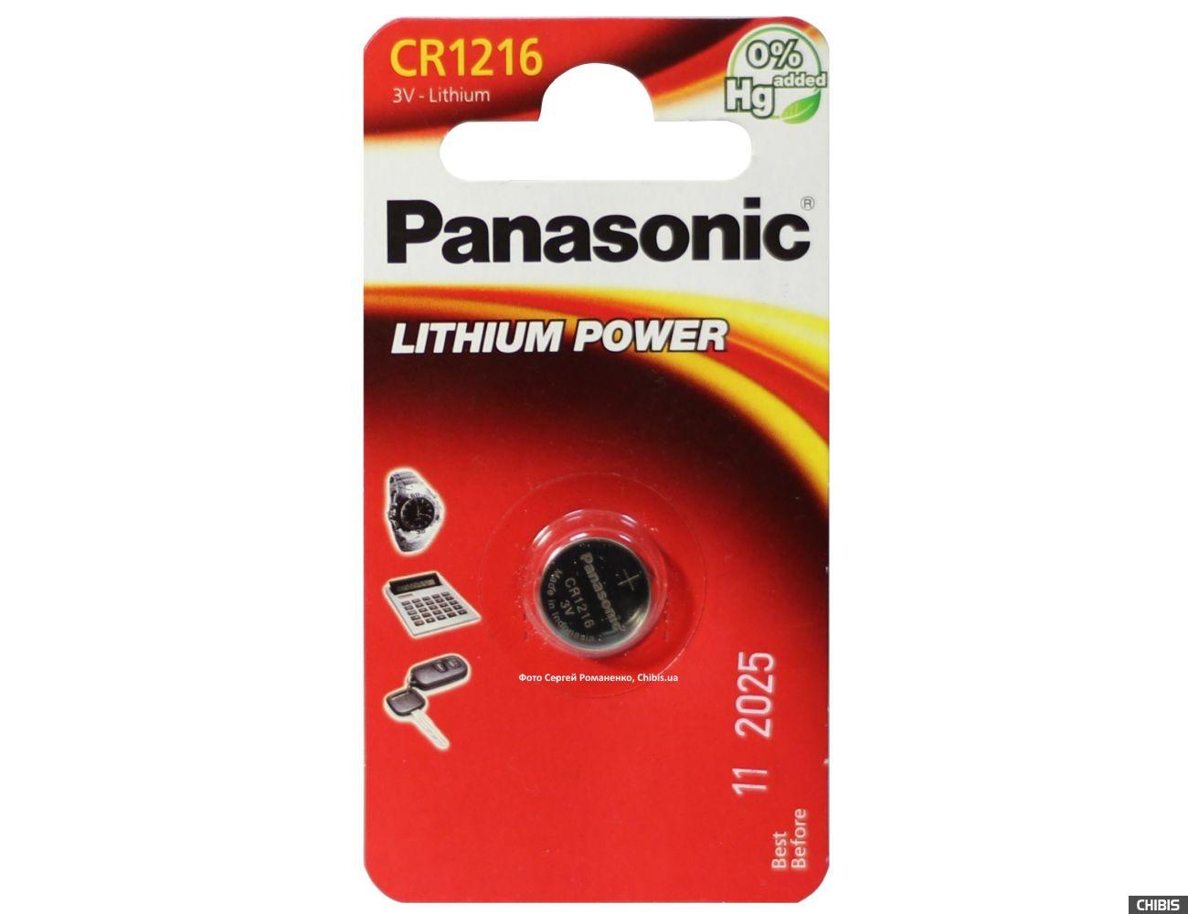 Батарейка CR 1216 Panasonic 3V Литиевая