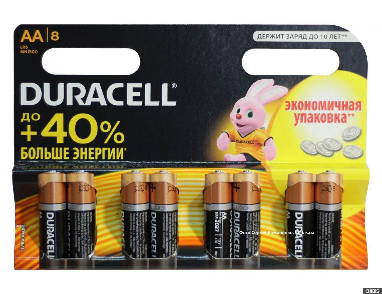 Батарейка Duracell AA Basic 8 шт 1.5V экономная упаковка