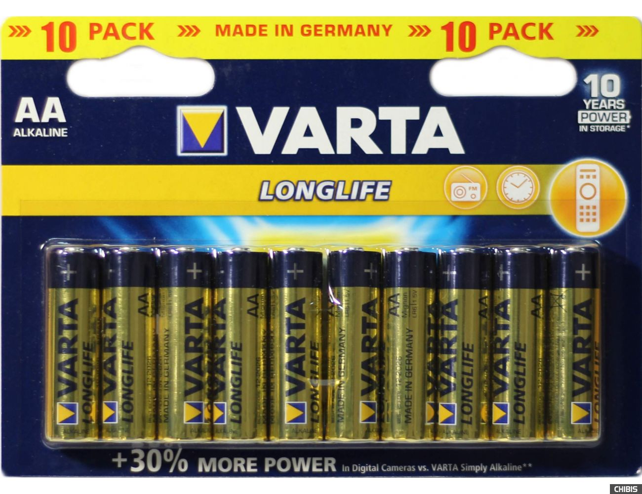 Батарейка АА Varta Longlife LR06 / 1.5V / Alkaline Щелочная упаковка 10 шт