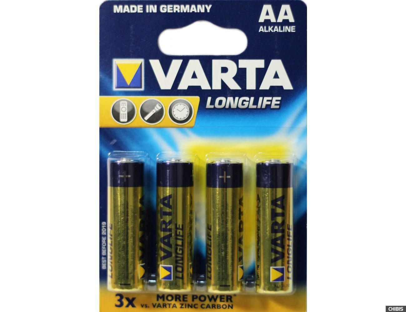 Батарейка AA Varta Longlife (LR06, 1.5V, Alkaline Щелочная) упаковка на 4 шт