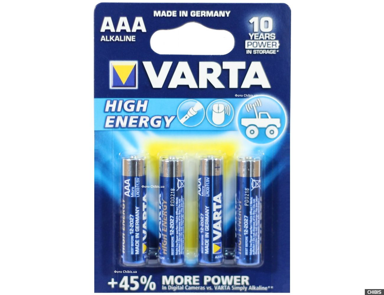 Батарейка ААА Varta High Energy LR03 1.5V Alkaline блистер 4