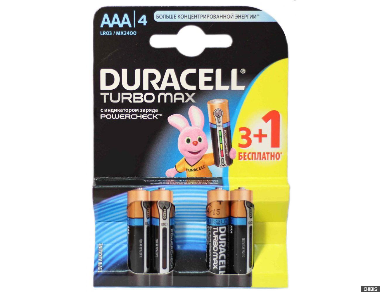 атарейка ААА Duracell Turbo LR03, 1.5V, Alkaline Щелочная 3 шт+1 бесплатно 1/4шт