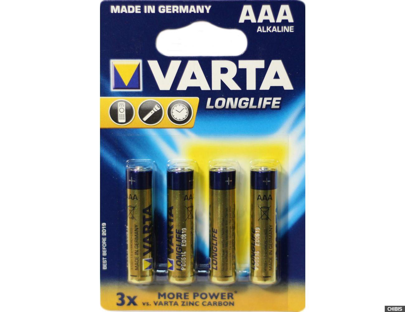 Батарейка Varta AAA Longlife 4 шт в блистере