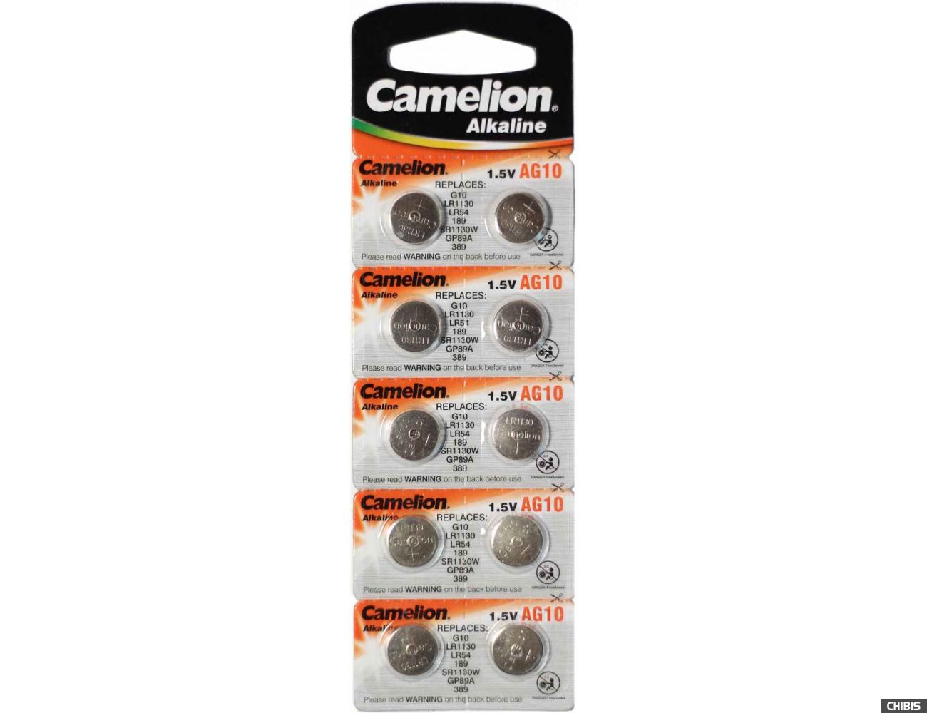 Батарейка Camelion AG10 / LR1130 / LR54 / GP89 / 389 / V10 Alkaline 1.5V 1/10 шт