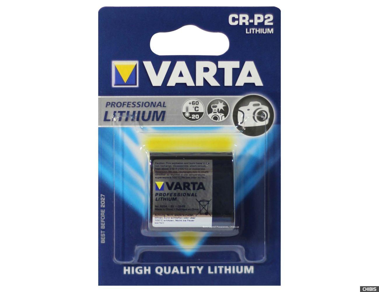 Батарейка CR-P2 6V Varta Photo Professional Литиевая 6204