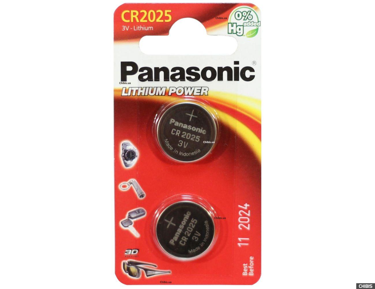 Батарейка CR2025 Panasonic 3V Литиевая 2/2 шт.