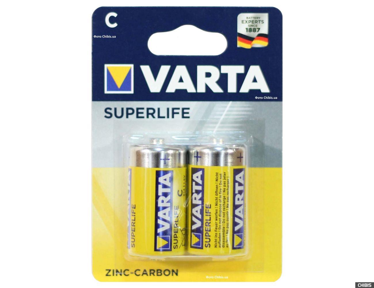 Батарейка R14 Varta Superlife C, 1.5V Цинково-угольная 2/2 шт блистер