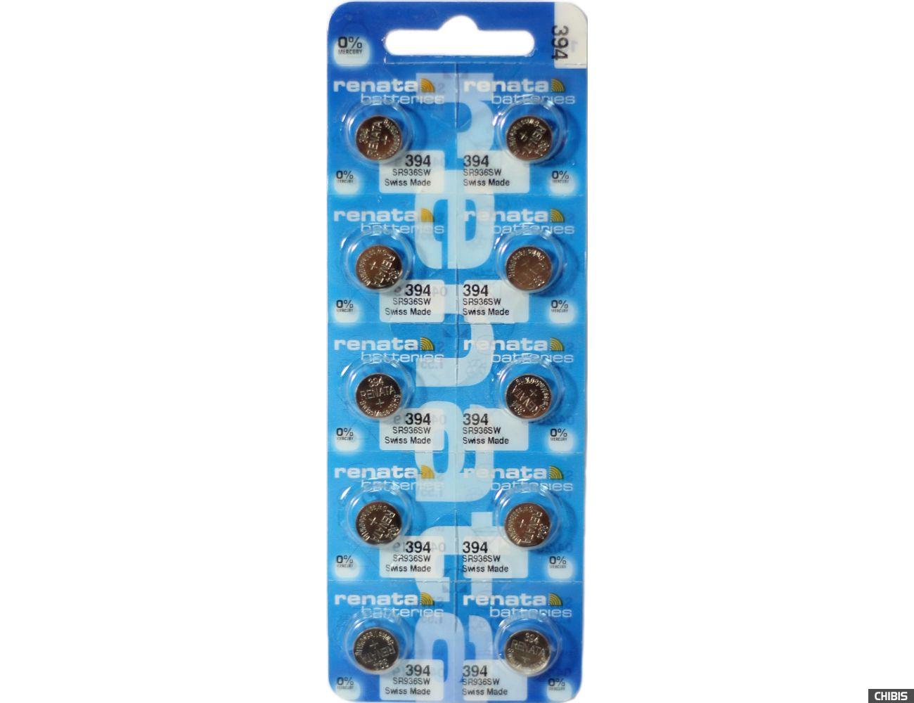 Батарейка для часов Renata SR936SW (394) 1.55V Silver упаковка 10 шт
