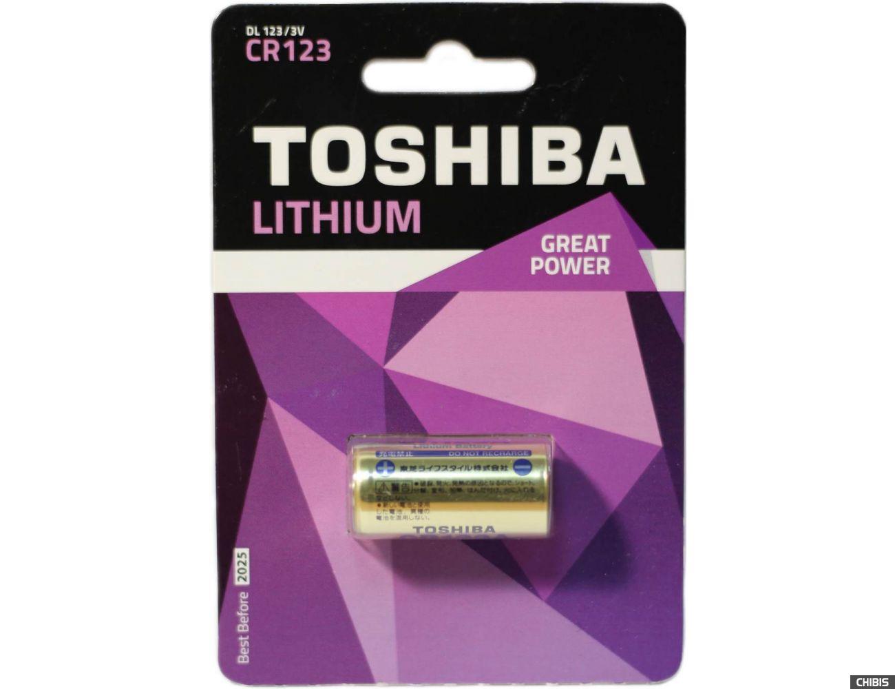 Батарейка CR 123 Toshiba Lithium 3V