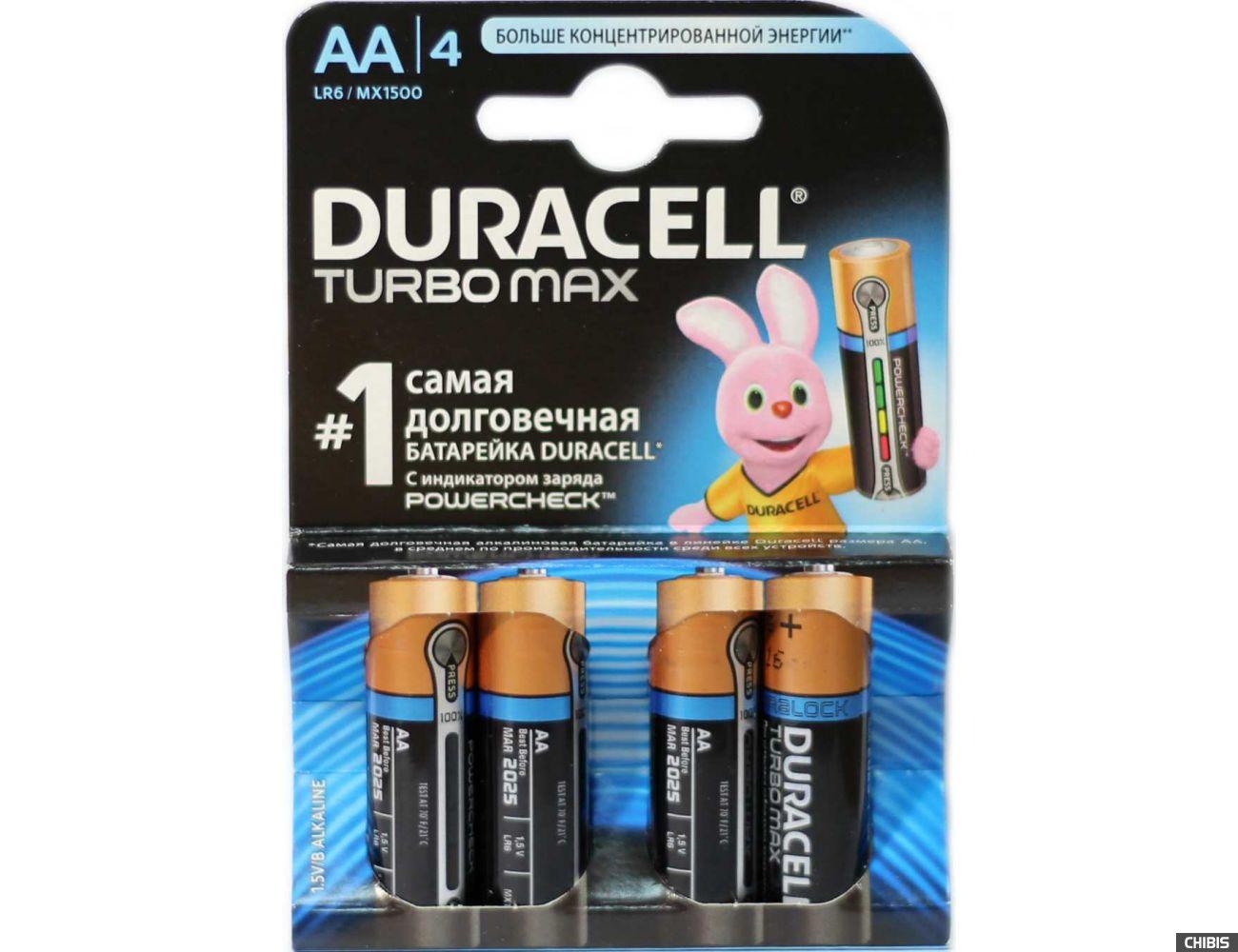 Батарейка Duracell AA TurboMax LR06 4 шт