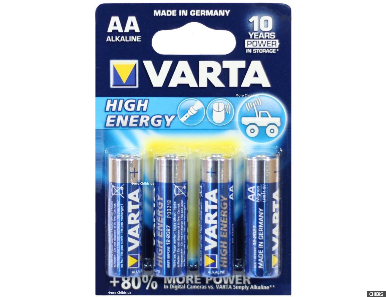 Батарейка АА Varta High Energy LR06 1.5V Alkaline блистер 4 шт.