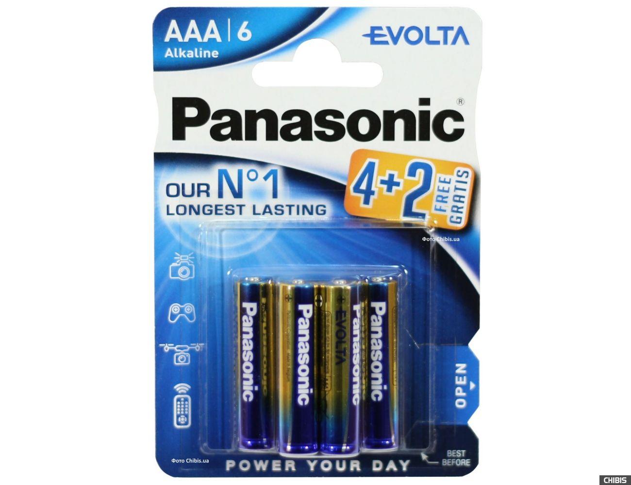 Батарейка ААА Panasonic Evolta LR03 1.5V Alkaline 4+2 бесплатно блистер 6 шт.