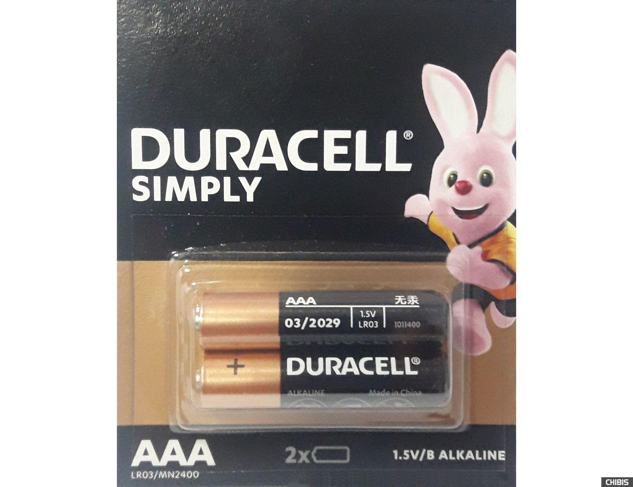 Батарейка AAA Duracell Basic LR03 1.5V Alkaline 2 шт. отрывная упаковка