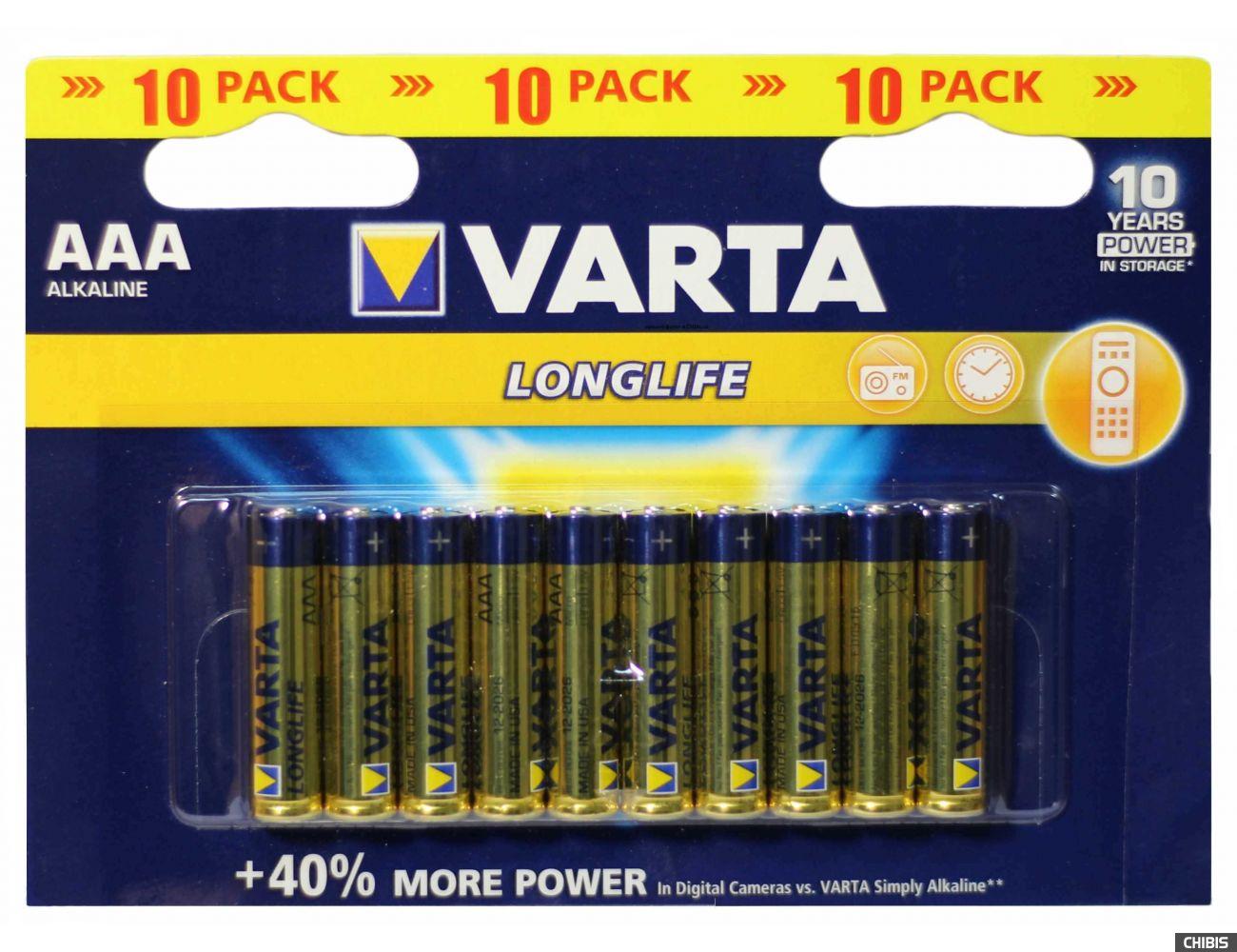Батарейка Varta AAA Longlife LR03, 1.5V, Alkaline 10 шт