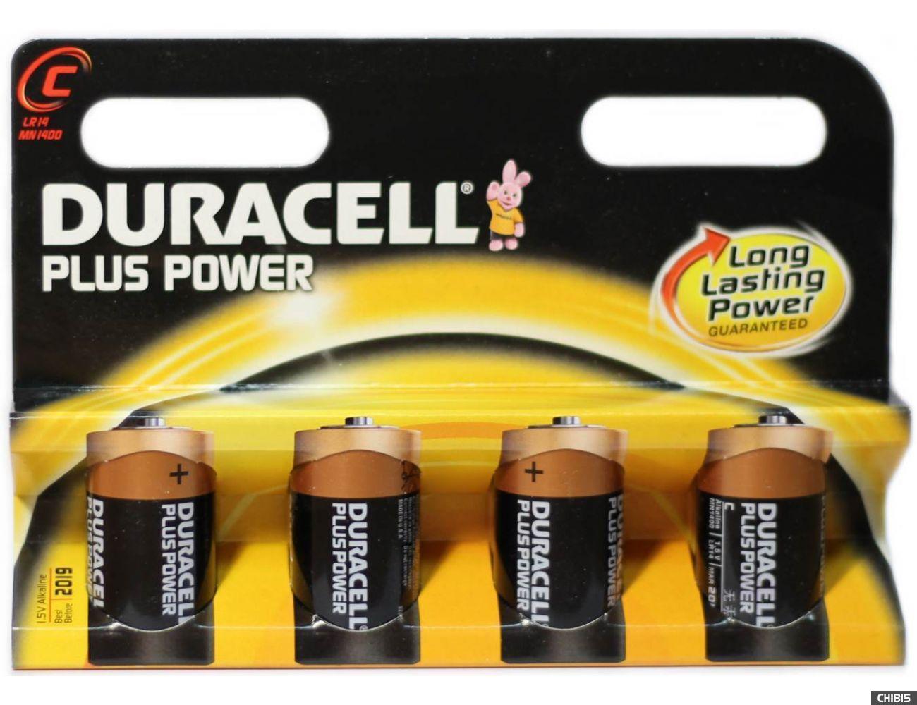 Батарейка LR14 Duracell C Basic 1.5V Alkaline Щелочная) 1/4 шт. блистер