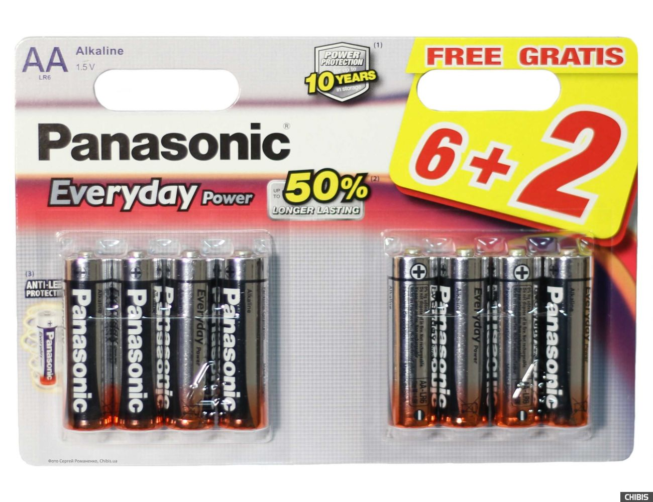 Батарейка АА Panasonic Everyday Power 6+2 LR06 1.5V alkaline блистер 8 шт