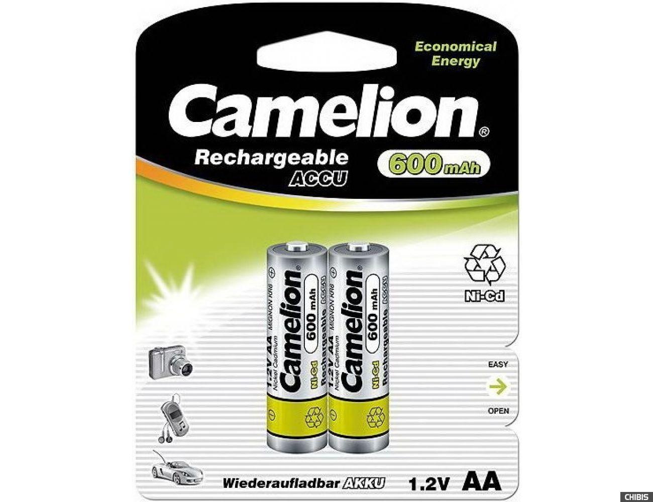 Аккумуляторные батарейки АА Camelion 600 mAh Ni-CD 1/2 блистер