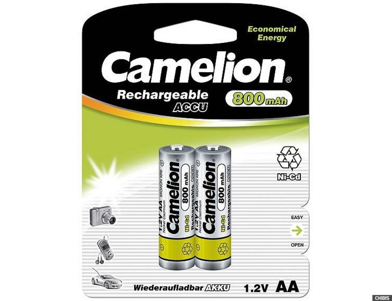 Аккумуляторные батарейки АА Camelion 800 mAh Ni-CD 1/2 блистер